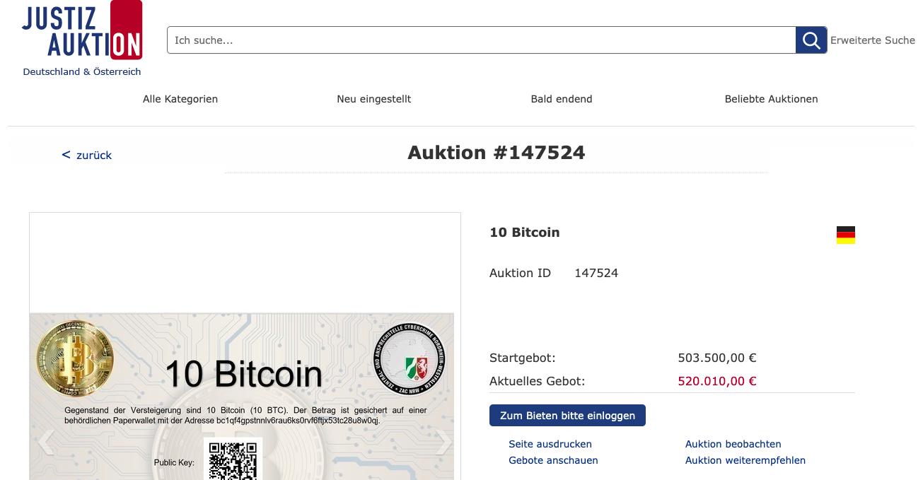 10 bitcoins geveild in Duitsland